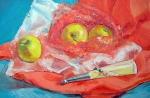 """Omenat vol 3"" Öljy kovalevylle 50 cm x 38 xm 2008"