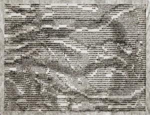 """""""I"""" sarjasta """"Puhuu kielillä"""" Fotoetsaus, puupiirros 27 x 34 cm, edition 4 2015"""