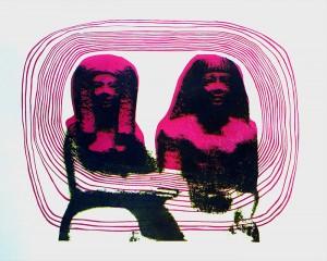 """Yhdessä"" Kopiopaino ja linokaiverrus, vedos 1/1 31 x 24,7 cm, 2014"