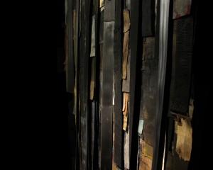 """""""Kolttu- Invisible, endless work"""" Tekstiiliteos, yksityiskohta Vanhat tekstiilit, vaatekankaat Koko 100 cm x 180 cm Vuosi 2015"""