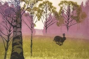 """""""Kasteiselta niityltä metsän suojaan""""  viivasyövytys, akvatinta 40 x 60 cm 2013"""