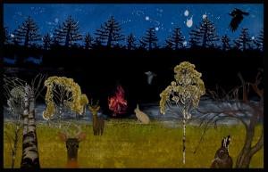 """""""Nuotio metsässä"""" Taidegrafiikka yhdistelmätekniikat, liikkuva kuva (nuotio), ääni 147 x 220 cm 2013"""