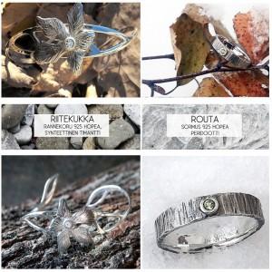 """""""Riitekukka"""" & """"Routa"""" Rannekoru ja sormus Hopea 925, synteettinen timantti ja peridootti 2014"""