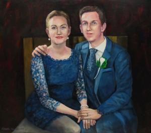 """""""Aviopari""""  Akryylimaalaus kankaalle 95 x 120 cm  (muotokuva tilauksesta) 2015"""